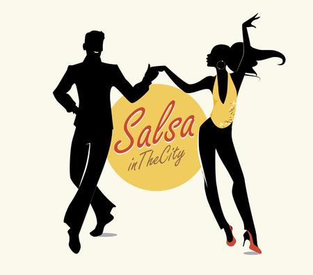 市熱帯のサルサ: ハンサムな男と美しい少女ラテン音楽のダンス