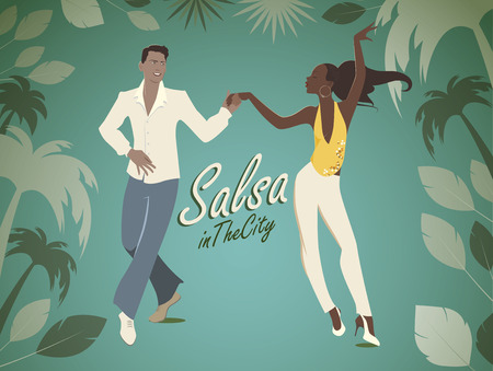 Salsa in the City Tropical: Handsome man and beautiful girl dancing latin music