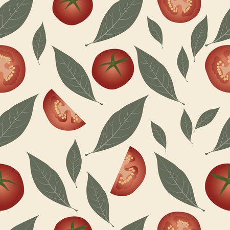 condiment: Background tomato and laurel leaves. Condiment food pattern Illustration