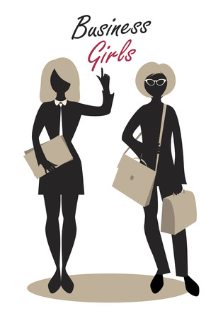 Business Girls. Black Silhouettes. Retro Style Illustration