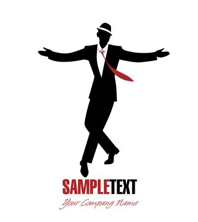 Elegant man silhouette dancing jazz Vettoriali