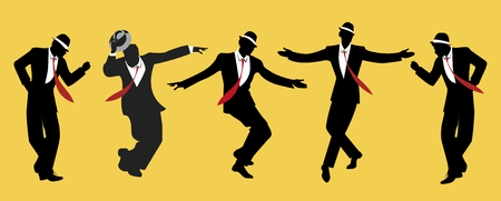 Elegant men wearing hats. Dancing swing or jazz