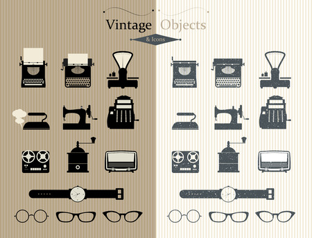 retro illustration: Vintage objects and icons. Two types. Illustration
