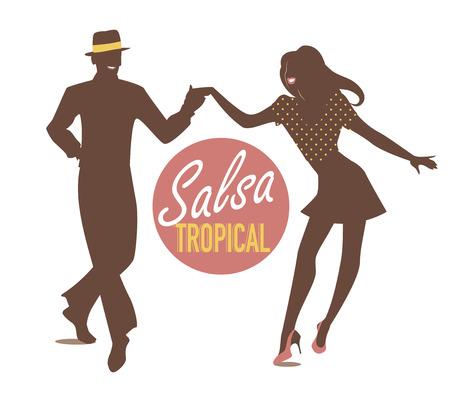 Het jonge paar dansen latin muziek. Salsa, mambo, rumba Stock Illustratie