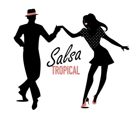 Jeune couple dansant la musique latine. Salsa, mambo, rumba Vecteurs