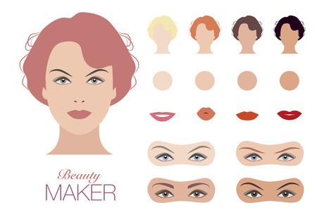 model kit: Beauty Face Maker. Elegant woman. vintage Style