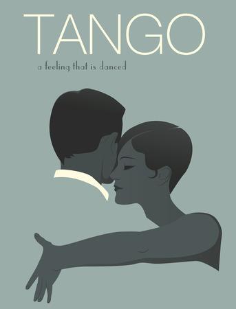 Young elegant couple dancing tango Illustration