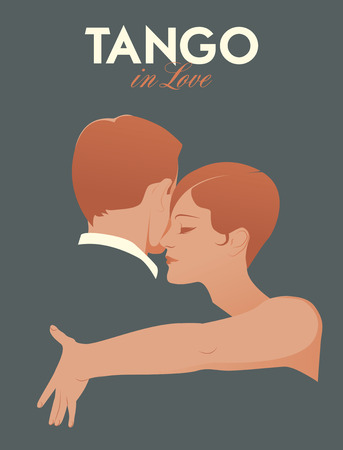 Young elegant couple dancing tango Stock Illustratie