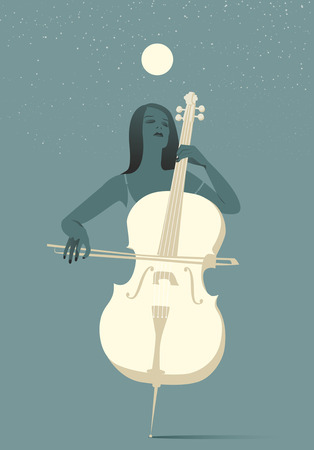 cellos: Woman playing cello under the moon and stars