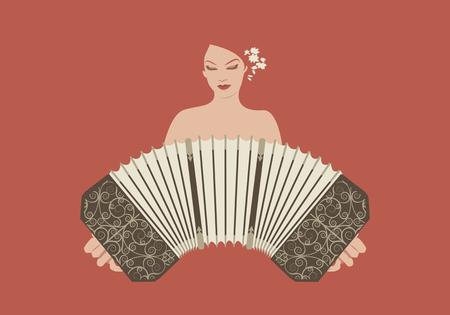 bandoneon: Woman playing bandoneon