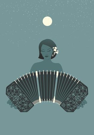 bandoneon: Woman bandoneon playing under the moon and stars Illustration