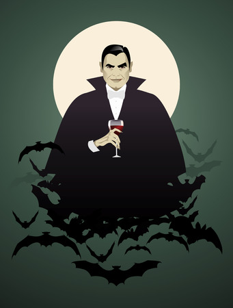Elegant vampire bats on a cloud of holding a wineglass. Halloween night