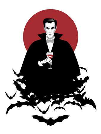와인 잔 들고 구름에 우아한 뱀파이어 박쥐. 할로윈 밤