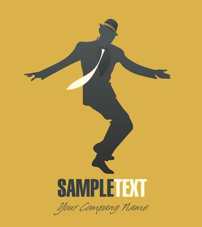 jazz dancer: Elegant man silhouette dancing jazz or swing Illustration