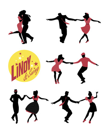 Young people dancing lindy hop or swing