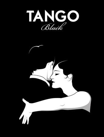 Tango Noir. Couple dansant le tango. le style Comic Vecteurs