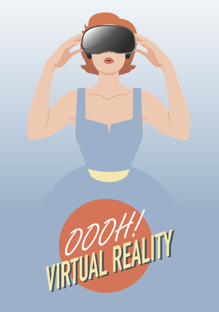 cyber girl: Virtual Woman wearing glasses. vintage style