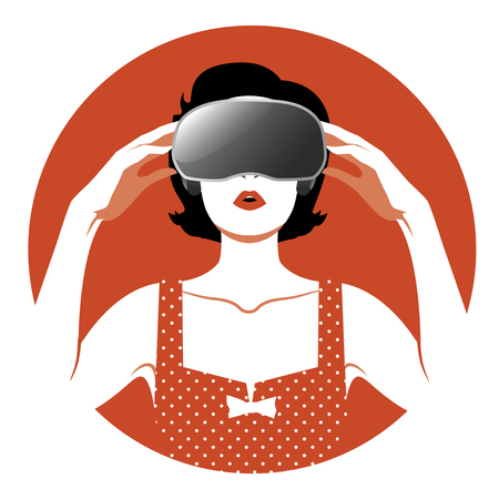 cyber woman: Virtual Woman wearing glasses. vintage style