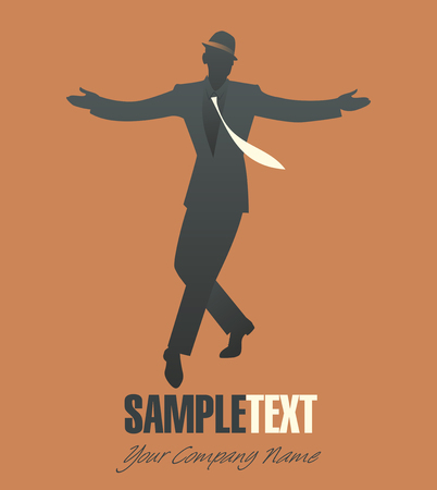 Elegant man silhouette dancing jazz or swing Illustration