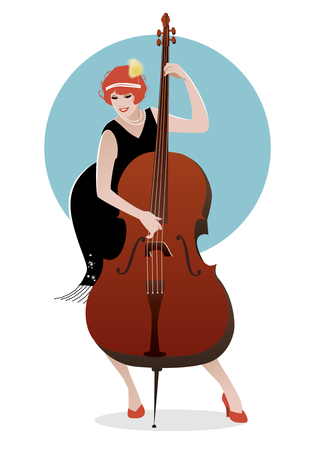 double bass: Flapper girl dressed in 1920s clothes playing double bass