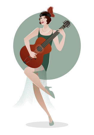 flapper: Flapper girl dressed in 1920s clothes playing guitar