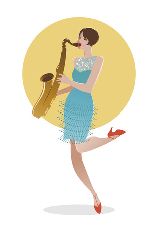 Flapper girl dressed in 1920s clothes playing saxophone