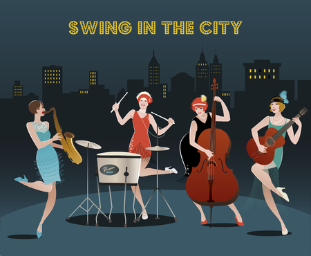 bass guitar women: Four flapper girls orchestra playing jazz, swing or music on charleston city night background