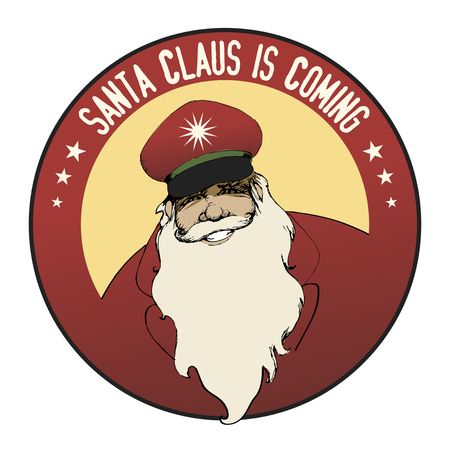 bearded man: Santa Claus is coming. Bearded man wearing a cap. Red Color