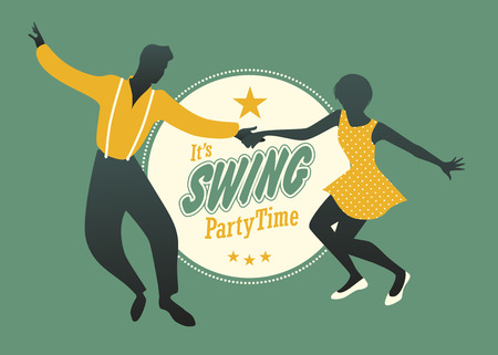 jive: Young couple dancing swing, rock or lindy