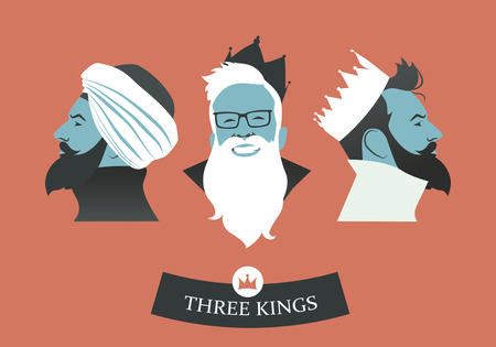 Three hipster men wearing hats and crowns as a Three Magician Kings Vettoriali