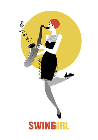 flapper: Flapper girl dressed in 1920s clothes, playing saxophone