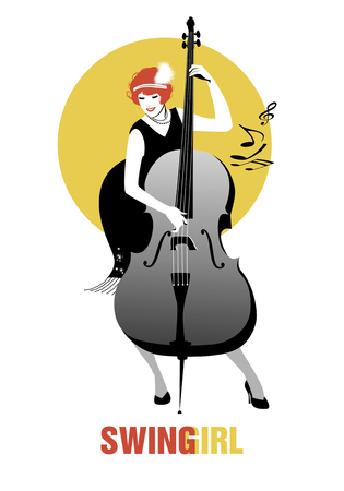 double bass: Flapper girl dressed in 1920s clothes, playing double bass