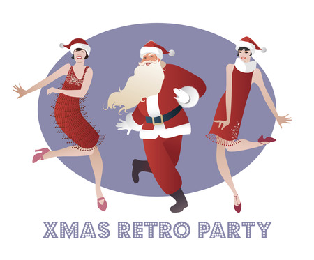 Funny Santa Claus and two flapper girls dancing Charleston