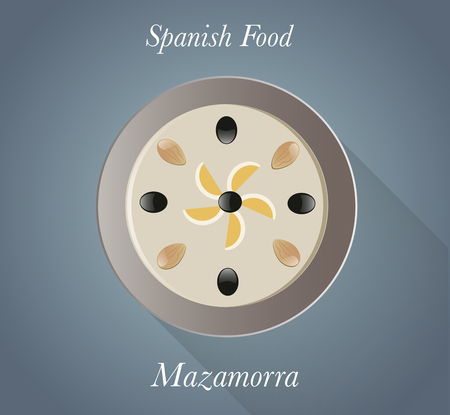 Spanish Food: Mazamorra. Typical spanish cold soup garlic and oil Ilustração