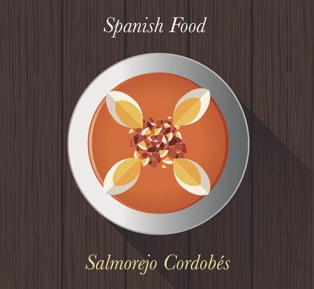spanish food: Spanish Food: Salmorejo Cordobes Typical spanish cold tomato soup from Cordoba (Spain)