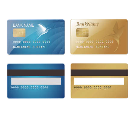 blue card: Credit Cards with hummingbirds. Blue and gold. Illustration