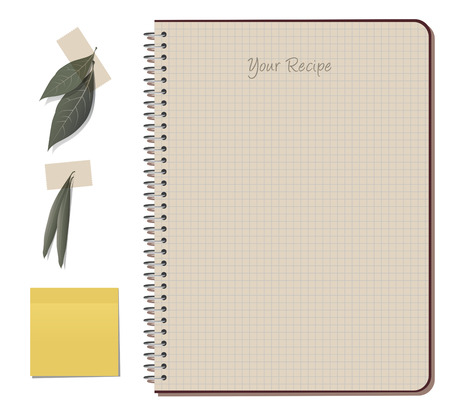 olive leaves: Recipes notebook. Laurel and olive leaves and yellow note