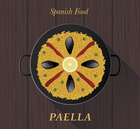 spanish food: Spanish Food. Paella . Typical spanish rice. Illustration