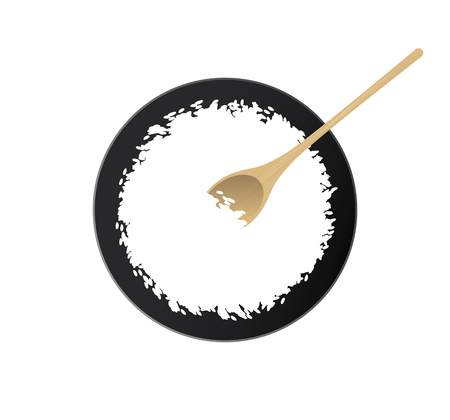 White rice bowl and wooden spoon.