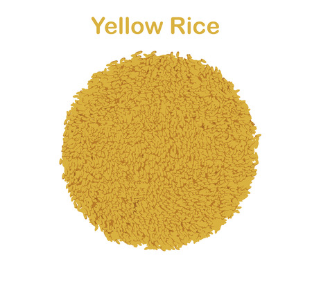 Paella rice yellow isolated on white background.