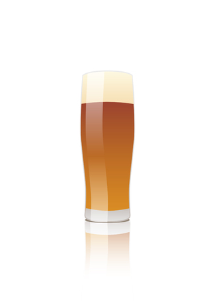 draught: Glass of amber ale beer. vector isolated.