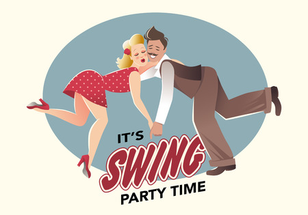 Funny couple swing dancing lindy hop or Illustration