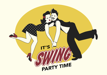 Funny couple swing dancing lindy hop or swing