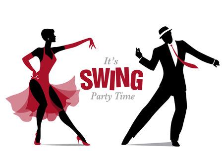 Élégant couple dansant des silhouettes jazz ou swing.