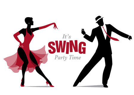tap dance: Elegant couple dancing silhouettes jazz or swing.