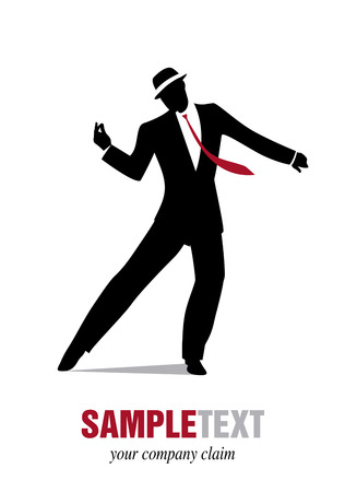 Elegant man silhouette dancing jazz or swing. Stock Illustratie