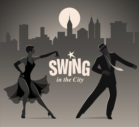 Elegant couple dressed in 1950s clothes dancing jazz or swing Ilustração