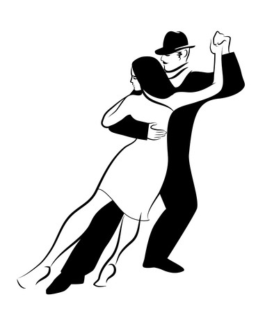 tango dance: Tango Dance isolated: young couple dancing tango Illustration