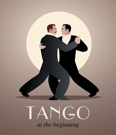two men: Two men dancing tango.