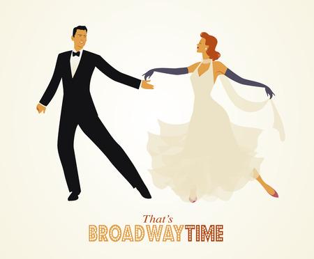 Elegant retro style dancing couple.